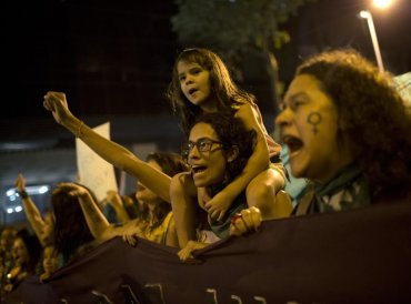 Women chant during a protest demanding the legalization of abortion without exception, in Rio de Janeiro, Brazil, Friday, June 22, 2018. Abortion is illegal in Brazil, except when a woman's life is at risk, when she has been raped or when the fetus has a usually fatal brain abnormality called anencephaly. AP/PTI