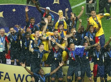 World Cup - Final - France v Croatia - Luzhniki Stadium, Moscow, Russia - July 15, 2018 France's Hugo Lloris lifts the trophy as they celebrate winning the World Cup. Reuters