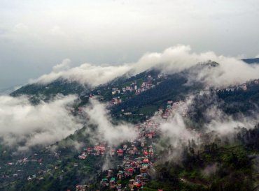 Clouds envelops the mountains after monsoon rain, in Shimla on Tuesday, July 17, 2018. (PTI Photo)