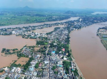Aerial view of flood-affected Ganjam district. PTI