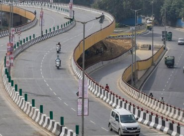 An aerial view of Rani Jhansi Flyover that was inaugurated today, at Filmistaan Cinema in New Delhi. PTI