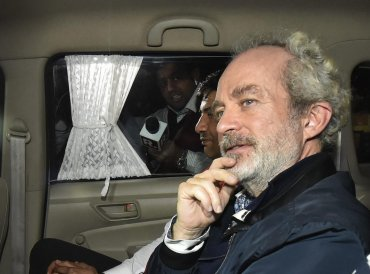 Agusta Westland scam accused middleman Christian Michel at CBI headquarters in New Delhi. (PTI Photo)