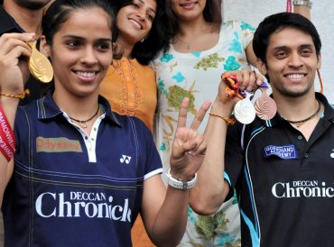 India's former world number one Saina Nehwal on December 14, 2018 announced her marriage to fellow badminton player Parupalli Kashyap, calling it the best match of her life. Nehwal said she had started dating Kashyap, 32, in 2007 after they began going on tours together but delayed the marriage in order to focus on their careers. (Photo by Noah SEELAM / AFP)