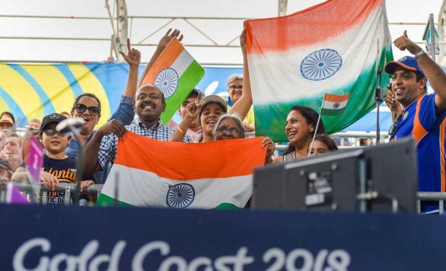 The crowd cheers for the Indian players competing in the Commonwealth Games 2018, at the Belmont Shooting Centre in Brisbane. PTI Photo