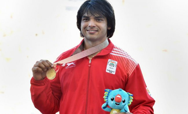 India\'s Neeraj Chopra shows his gold medal at the medal ceremony of men\'s javelin throw event during the Commonwealth Games 2018 in Gold Coast, Australia on Saturday. (PTI Photo)