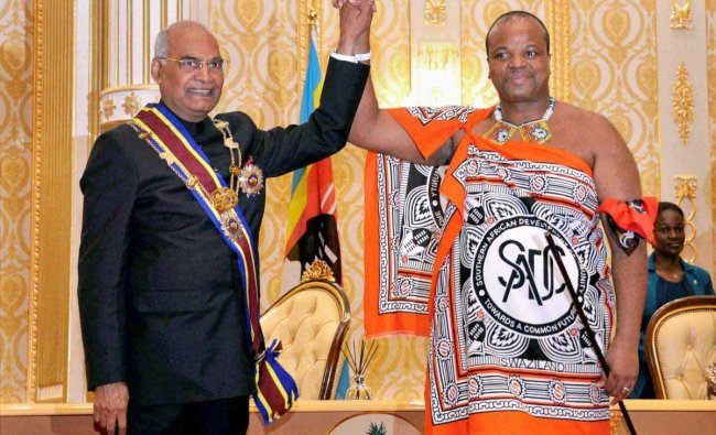 President Ram Nath Kovind after receiving the order of lion from Swaziland King Mswati III at Lozitha Palace in Swaziland, Shikhuphe. PTI Photo
