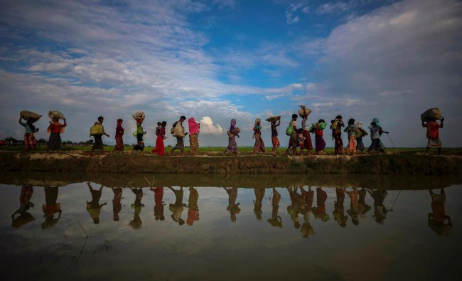Rohingya refugees are reflected in rain water along an embankment next to paddy fields after fleeing from Myanmar into Palang Khali, near Cox\'s Bazar, Bangladesh November 2, 2017. REUTERS/Hannah McKay