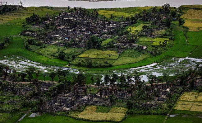 The remains of a burned Rohingya village is seen in this aerial photograph near Maungdaw, north of Rakhine State, Myanmar September 27, 2017. REUTERS/Soe Zeya Tun