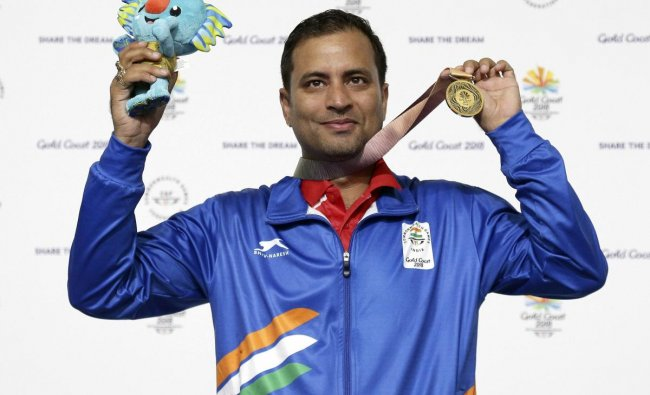 Sanjeev Rajput of India celebrates winning the gold medal at the men\'s 50m Rifle 3P final at the Belmont Shooting Centre during the 2018 Commonwealth Games in Brisbane, Australia, Saturday, April 14, 2018. (AP/PTI)