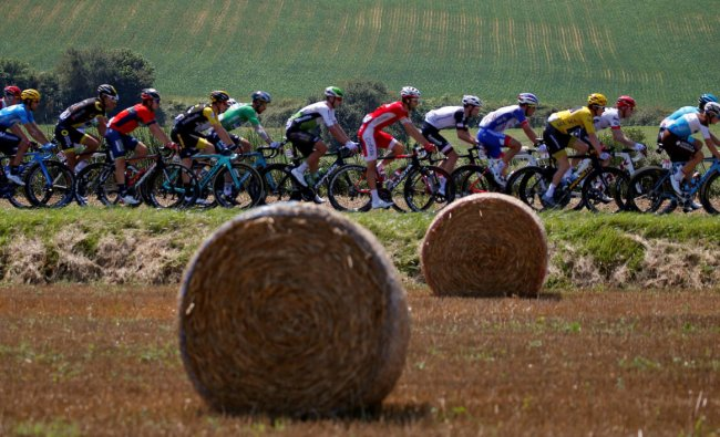 The peloton in action during the 171-km Stage 18 of the Tour De France from Trie-sur-Baise to Pau. (Reuters Photo)