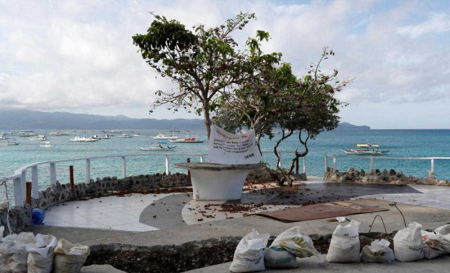 A view of a rock formation transformed into a mini park in the closed West Cove resort on Boracay island, in Philippines. Reuters Photo