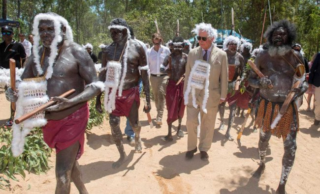 Britain\'s Prince Charles visits Mount Nhulun for a ceremonial welcome with leaders of the Dhimurru and Rirratjingu Aboriginal Corporations, in Australia