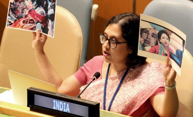 Paulomi Tripathi, Permanent Mission of India to UN reply to Pakistan at UNGA with real picture of Pak-sponsored terrorism in J&K, during the 72nd United Nations General Assembly (UNGA) in New York on September 25.
