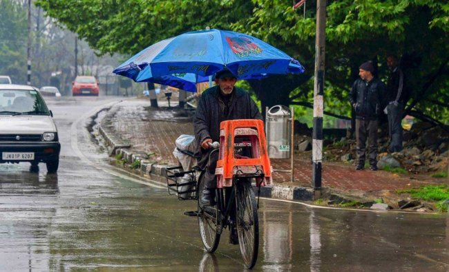 An elderly man, holding a garden umbrella, pedals his bycicle as it rains in Srinagar on Tuesday. Higher reaches of Kashmir Valley received fresh snowfall while the plains were lashed with rains. PTI Photo
