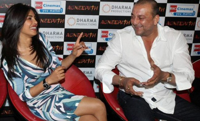 Sanjay Dutt and Priyanka Chopra at the launch of the trailer of their new film Agneepath