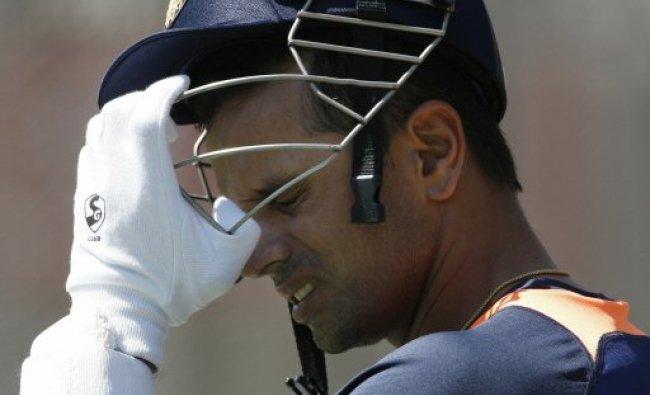 Rahul Dravid of India adjusts his helmet...