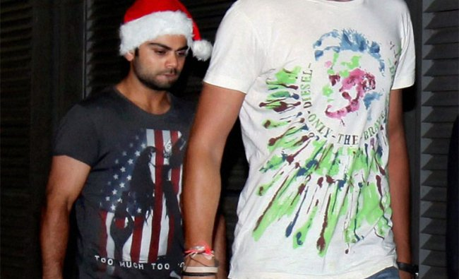 Ishant Sharma and Virat Kohli wearing Santa hats on Christmas eve in Melbourne