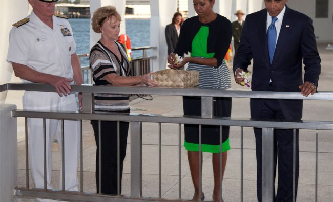 President Barack Obama and first lady Michelle Obama at the USS Arizona Memorial