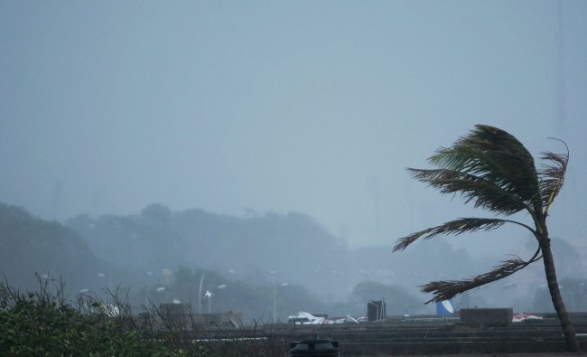 A view of Pattinapakkam area during Cyclone Thane in Chennai