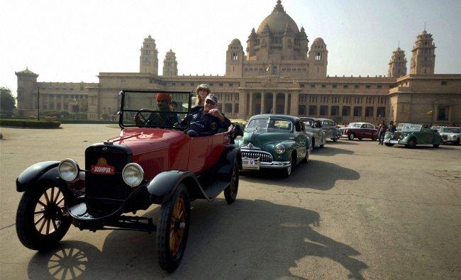 Participants at a vintage car rally at Umaid Bhawan Palace in Jodhpur