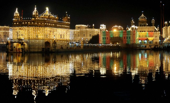 Golden Temple decorated with lights on the eve of birth anniversary of Guru Gobind Singhji