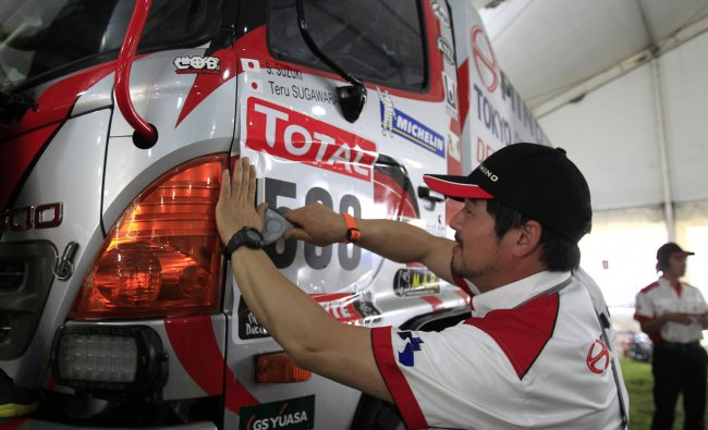 A truck is seen during a technical verification ahead of the 2012 Argentina-Chile-Peru Dakar Rally
