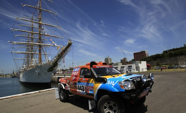 A car is seen during the technical verification ahead of the 2012 Argentina-Chile-Peru Dakar Rally