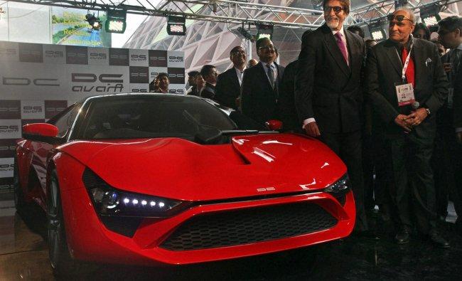 Actor Amitabh Bachchan and car designer Dilip Chhabria pose with Supercar-DC Avanti