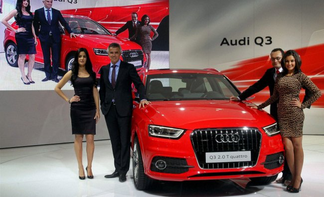 Audi Q3 2.0 T quattro car is seen during its unveiling ceremony at the 11th Auto Expo 2012