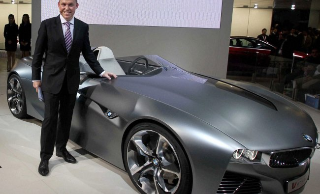 BMW India President Andrea Schaaf presenting the BMW M5 car at the Auto Expo 2012