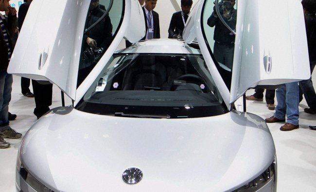 Volkswagen XL1 car on display at the 11th Auto Expo 2012