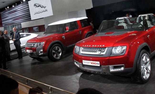 Lan Rover cars on display at the 11th Auto Expo 2012