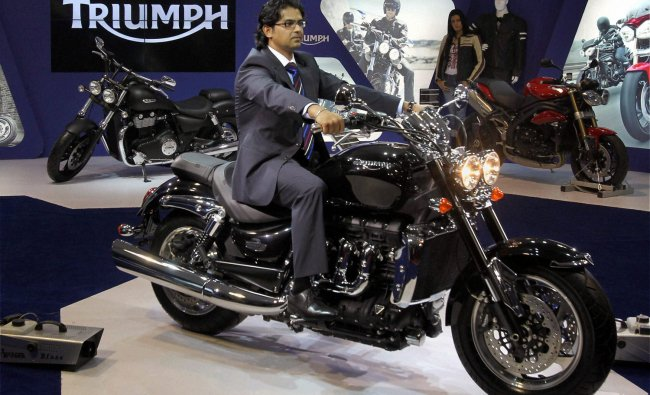 Triumph bikes on display at the 11th Auto Expo 2012