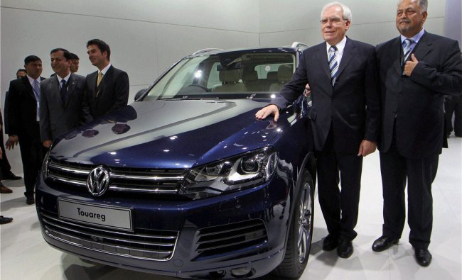 Volkswagen\'s Touareg car is on display at the 11th Auto Expo 2012