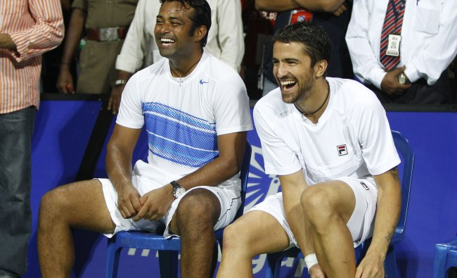 Leander Paes and Janko Tipsarevic during the presentation ceremony at the ATP Chennai Open