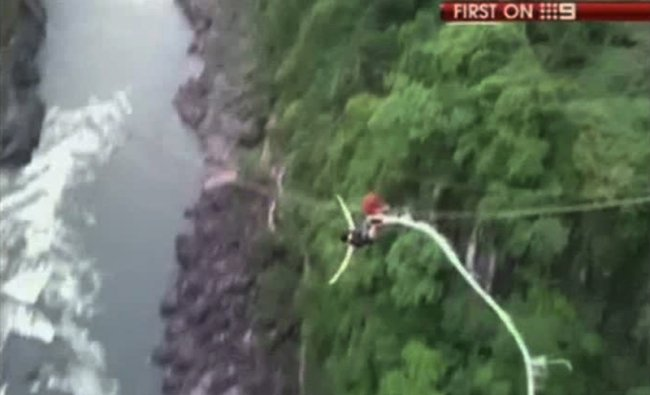 The Australian tourist bungee jumping plunged 365 feet