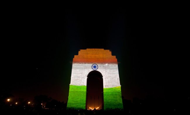 Indian tricolor national flag on the India Gate