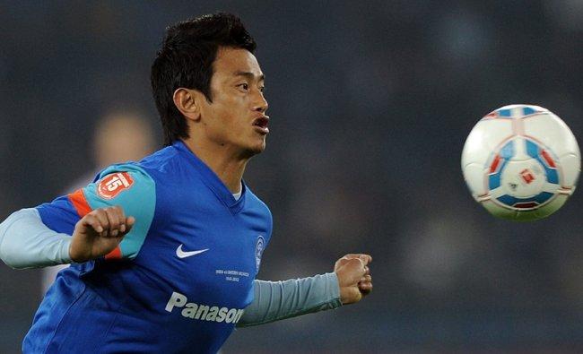 Baichung Bhutia during a friendly football match against Geramn team