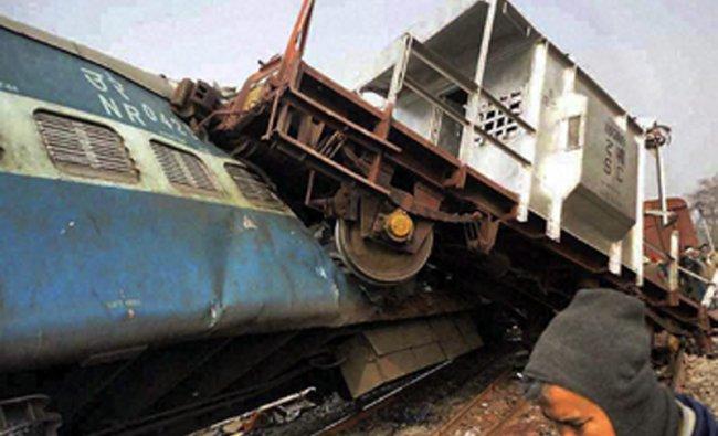 A derailed coach of Delhi-bound Brahmaputra Mail