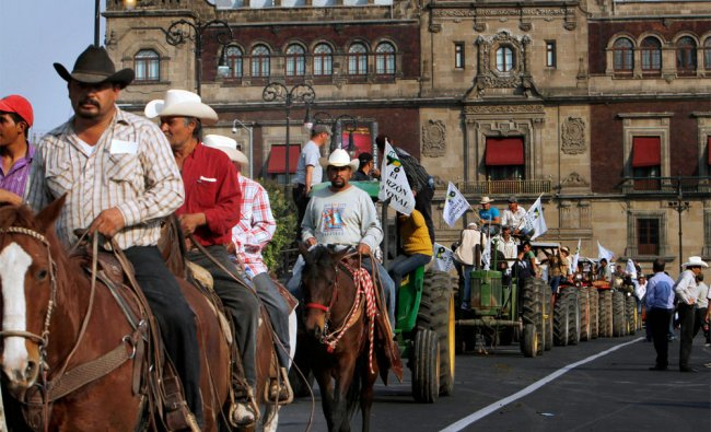 Indigenous and peasant participate in a caravan for help in Mexico City