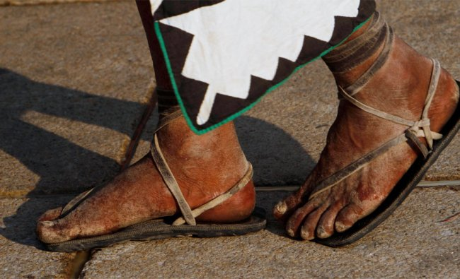 An Indian of the Tarahumara Mountains, northern Mexico, participates in a caravan for help in Mexico