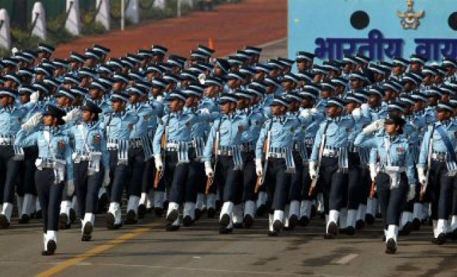 Indian Air Force soldiers march past at Rajpath...