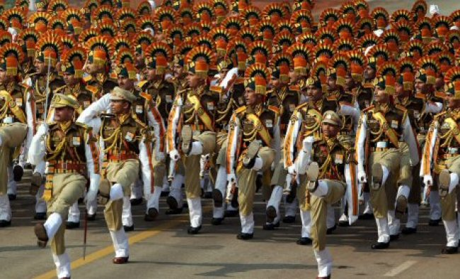 CISF men march past at Rajpath during the full dress rehearsal ...