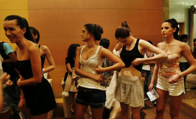 Models wait to participate in an audition for the Lakme Fashion Week...
