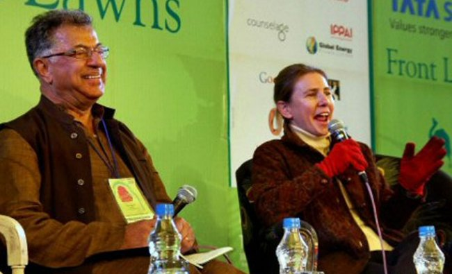 Girish Karnad and novelist Lionel Shriver at the Jaipur Literature Festival