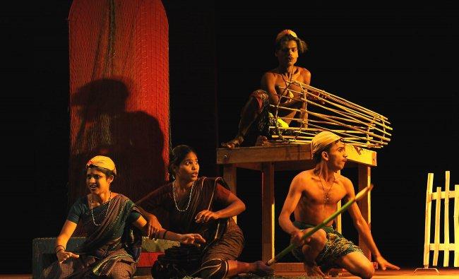 Artists of Kundapura Samudaya stage kulam play
