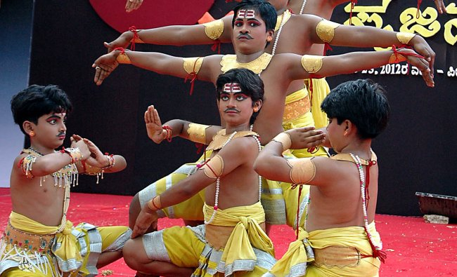 A group of boys in perfect sink as the at the perform Bala Srujanotsava in Mangalore