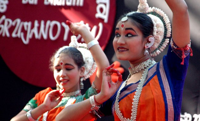 Two girls perform at the 3 day National level childrens camp in Mangalore