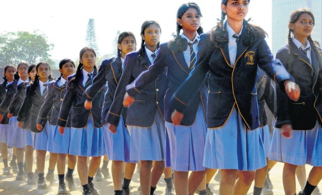 Students practise for the Republic Day parade in Bangalore