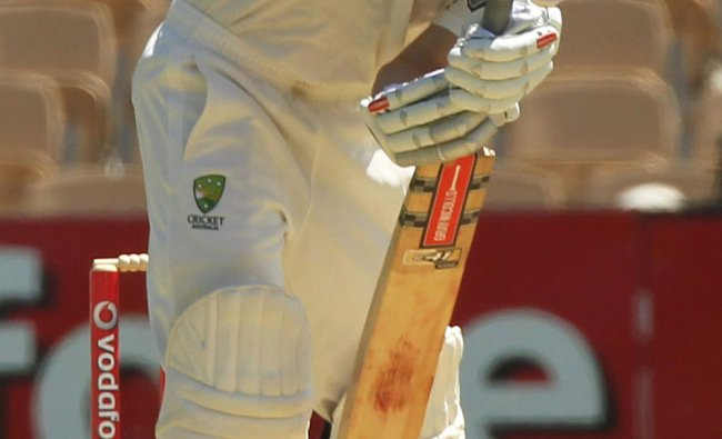 Ed Cowan faces a rising ball on day 1 of the fourth cricket Test match against India